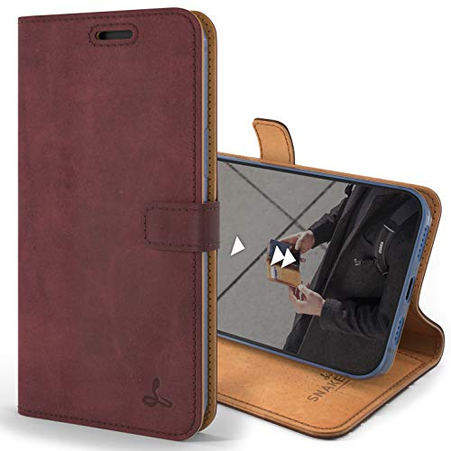 Snakehive Vintage Wallet for Apple iPhone 12 Pro Max    Real Leather Wallet Phone Case    Genuine Leather with Viewing Stand & 3 Card Holder    Flip Folio Cover with Card Slot (Plum)