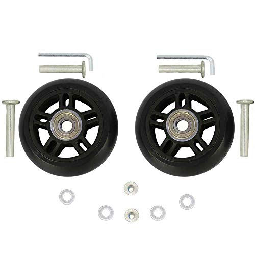 ORO 1 Pair Luggage Wheels Replacement 8024mm with 8mm(0.31') Bearings 35mm(1.37') 40mm(1.57') Axles Wrenchs Repair Set for Suitcae