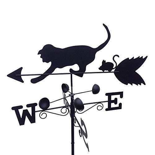 GardenMarketPlace Wetterfahne für Katzen und Maus, Stahl, mit Erdspieß und Wandbefestigung