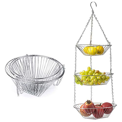 Chutoral 3-lagiger hängender Obstkorb, Draht hängende Blumenständer Einfache Aufbewahrungskorb Haushalt Lagerung Hängekorb, Geeignet für Küche, Bad, Garten