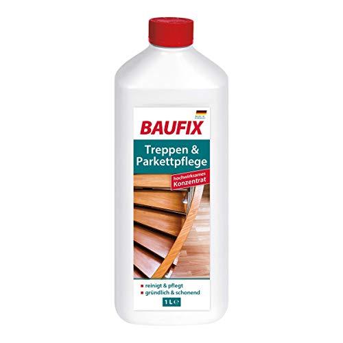 BAUFIX Treppen und Parkettpflege, 1 Liter, Pflegekonzentrat für Parkett und Treppe, geruchsarm, reinigt und pflegt, gründlich und schonend, auch für Sportböden geeignet