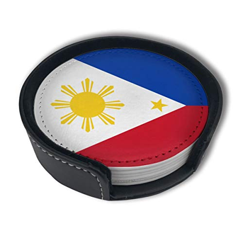 Filipino Flag Drinks Coasters With Holder, Suitable For Kinds Of Cups, Set Of 6