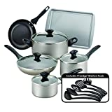 Farberware 21805 Dishwasher Safe Nonstick Cookware Pots and Pans Set, 15 Piece, Champagne
