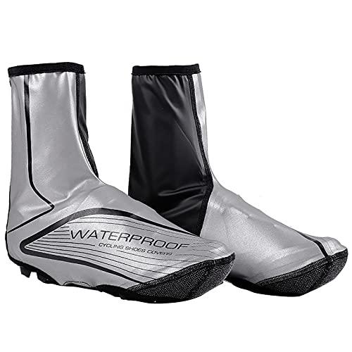 Thermo Fahrradüberschuhe Winter Regen Schnee Outdoor Überschuhe Wetter Kälte MTB Schuhe Kleidung wasserdichte Fahrradschuhe Abdeckungen,Silber,L