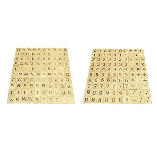 NUOBESTY 200 Stück Holz Scrabble Fliesen Holz Alphabet Buchstaben Zahlen Und Symbole Kinder Vorschule Lernspielzeug für DIY Handwerk Anhänger Rechtschreibung Scrabooking