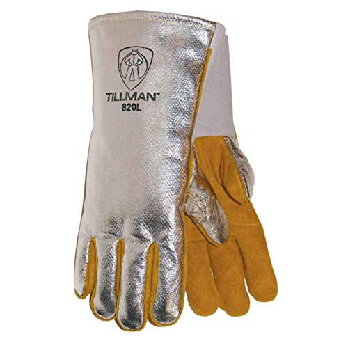 John Tillman Large Silver and Brown Leather and Aluminized Rayon Wool Lined Aluminized Welding Glove with Gauntlet Cuff