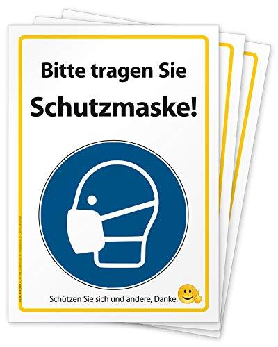3 hochwertige Folien-Aufkleber, Text Bitte tragen Sie Schutzmaske Hinweis-Schild, Folie selbstklebend DIN A4 (297 x 210 mm) groß