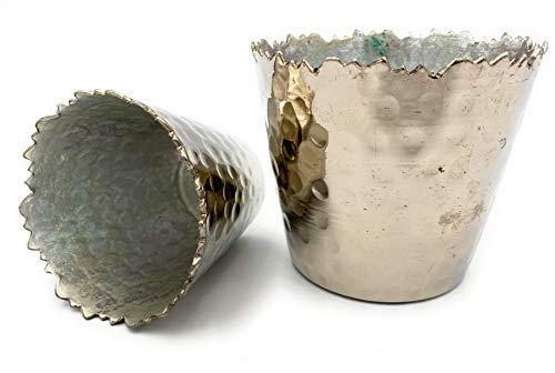Boltze portacandela o portavaso per Cactus, Elegante e Raffinato, Argento Lucido, Interno Opaco, 2 Pezzi in Alluminio, Altezza 7 e 9 cm