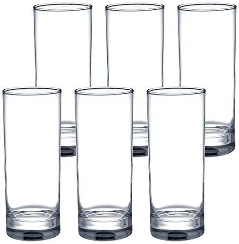 Amazon Brand - Solimo Nia High Ball Glass Set, 325ml, Set of 6, Transparent