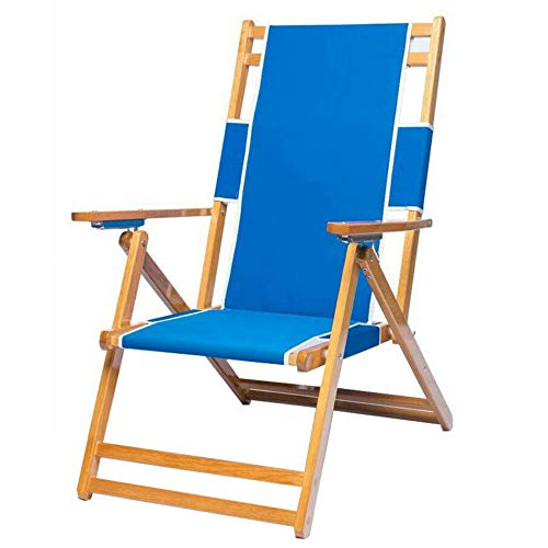 Solid Wood Frame Blue Color Foldable Beach Lounge Chair Camping Chair,Outdoor Picnic Chair,Fishing Chair Reclining Chair