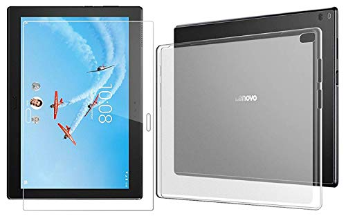 Domxteck (2 in 1 Pack) Transparent TPU Silicone Case Protective Cover +9H screen protector for Lenovo Tab 4 10 Plus