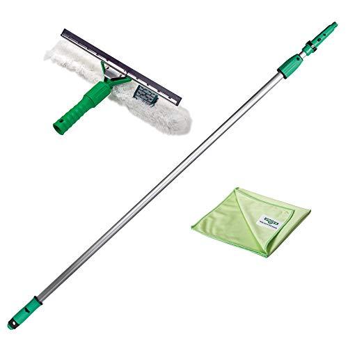 Unger AK131 - Kit de Limpieza para Ventanas (1,25 m, Incluye limpiacristales, Barra de extensión, paños de Microfibra, Limpieza sin Rayas)