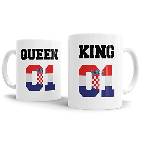 Tassendruck Flaggen-Tasse King & Queen - Kroatien - Pokal/Mug/Cup/Becher/WM/Pärchen/Paare/Freunde/Beste Qualität - 25 Jahre Erfahrung