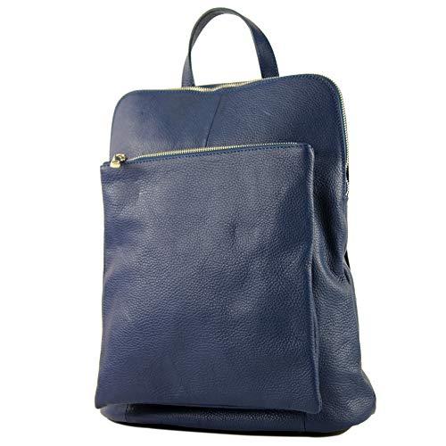 modamoda de - T141 - ital Damen Rucksacktasche 3in1 aus Leder, Farbe:Saphirblau