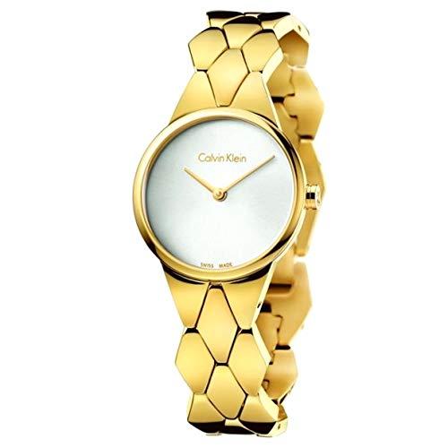 Calvin Klein Damen Analog Quarz Uhr mit Edelstahl Armband K6E23546