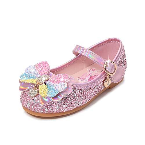 STRDK Niña Princesa Zapatos Sandalias Elsa Reina de Nieve Disfraz Zapatos de Cristal a Juego Niños Baile Latino Zapatos de Tango Fiesta de Vestir Arco Iris Lentejuelas Arco Cosplay Fiesta Zapatos
