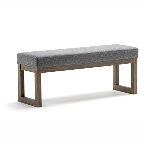 Simpli Home Milltown 44 inch Wide Rectangle Large Ottoman Bench Grey Footrest Stool, Linen Look Polyester Fabric for Living Room, Bedroom, Contemporary Modern