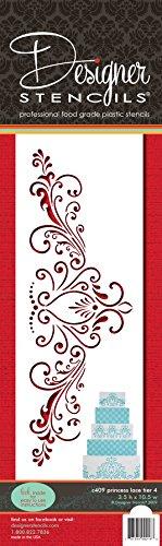 Designer Stencils Princess Lace 4 Cake foodgrade stencil, 3.5 x 10.5, Beige/Semi-Transparent