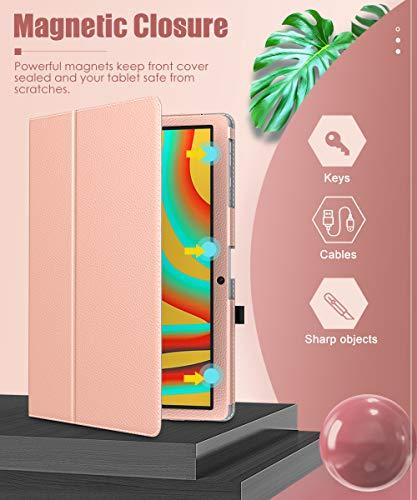 MoKo Hülle Kompatibel mit Vankyo MatrixPad S30 Tablet, Kunstleder Ständer Schutzhülle Tasche Cover mit Stift-Schleife Standfunktion - Rose Gold