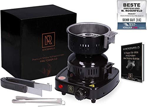 Premium Carbone per Shisha Carbone Fire Tower (650 W | Carbone accendisigari elettrico: Nero) Con Carbone cesto + 2 Pinze in acciaio inox & Mobile