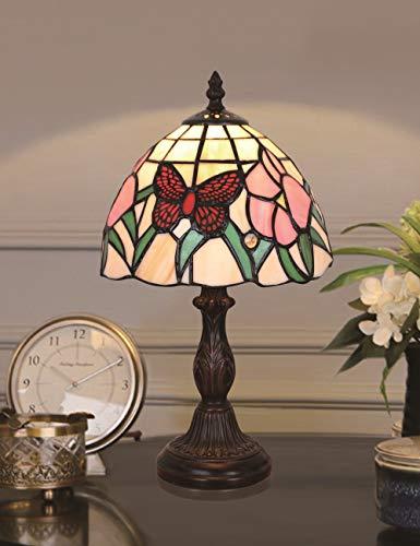 HDO Table lamp 8 Pulgadas Mariposa Roja Pastoral Estilo de L