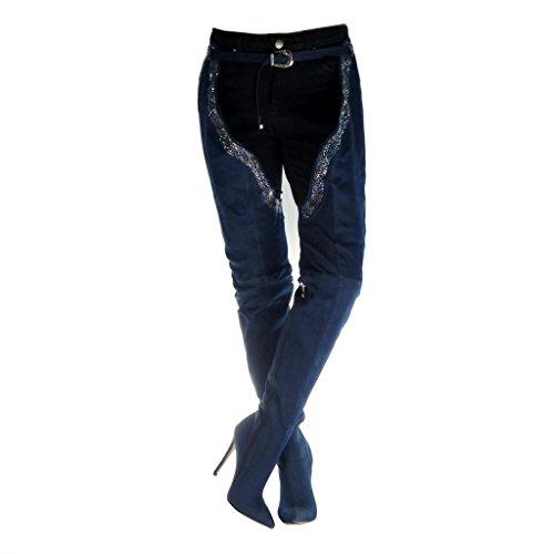 Angkorly - Zapatillas Moda Botas Altas Botas Jeans Denim Stiletto Sexy Mujer Strass Hebilla Tacón de Aguja Alto 12.5 CM - Azul B7803 T 38