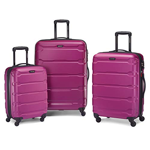 Samsonite Omni PC Hardside Expandable Luggage with Spinner Wheels, Radiant Pink, 3-Piece Set (20/24/28)