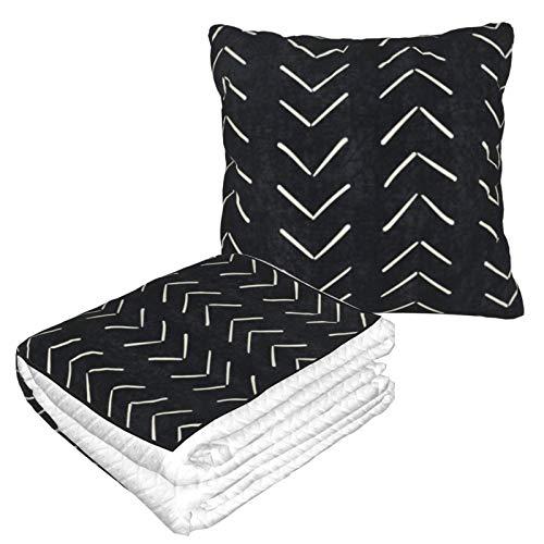 Manta de almohada de terciopelo suave 2 en 1 con bolsa suave Mudcloth grandes flechas en negro y blanco funda de almohada enmarcada para el hogar, avión, coche, películas de viaje