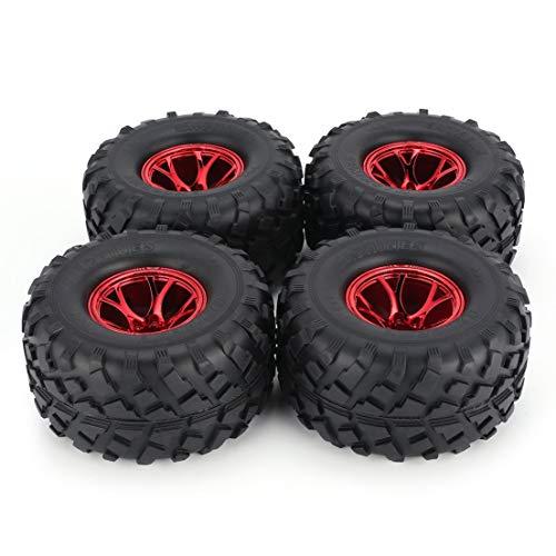 BiaBai AUSTAR 4 Uds AX-3004 130mm llanta de goma rueda de neumático cubo de plástico para 1/10 RC Bigfoot modelo HSP HPI Beadlock repuestos