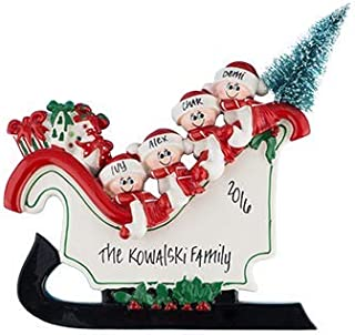 Sleigh Table Top Family of 4 Personalized Ornament - (Unique Christmas Tree Ornament - Classic Decor for A Holiday Party - Custom Decorations for Family Kids Baby Military Sports Or Pets)