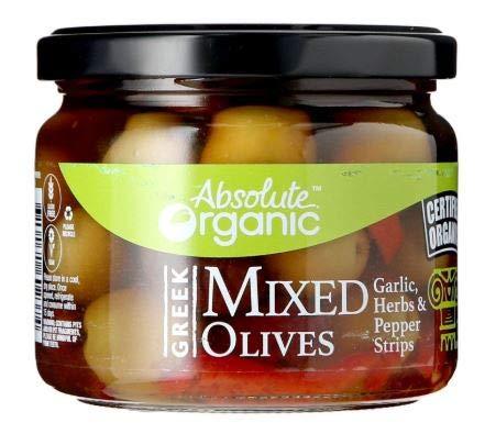NT# Absolute Organic Greek Mixed Olive 300G - Queste Olive marinate miste sono grasse, carnose e piene di sapore. Aggiungi a casseruole e insalate