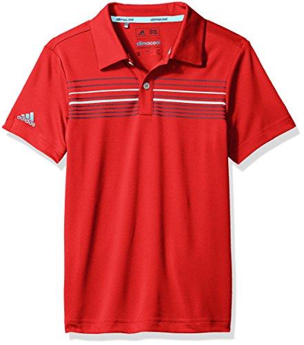 adidas Golf Boys MERCH Polo Shirt, Scarlet/Dark Slate, Medium