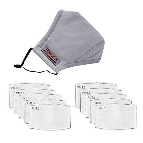 1 Adult Teens Cotton Mouth Cover & 10pcs Activated Carbon Inserts for Sports Outdoor Activities, Light Grey