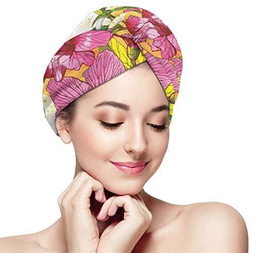 Enveloppement de cheveux à séchage rapide, Bouquet de fleurs d'hibiscus Art aquarelle élégance exotique, bonnet de douche absorbant