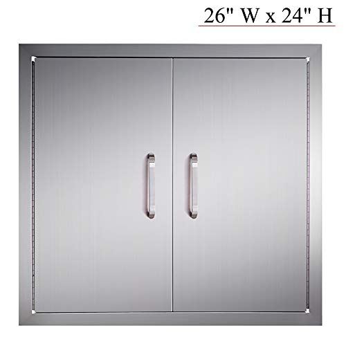 YXHARD BBQ Grill Access Door, 304 Brushed Stainless Steel 26 Widthx 24 Height Inches Outdoor Kitchen Door for Outdoor Kitchen and BBQ Island
