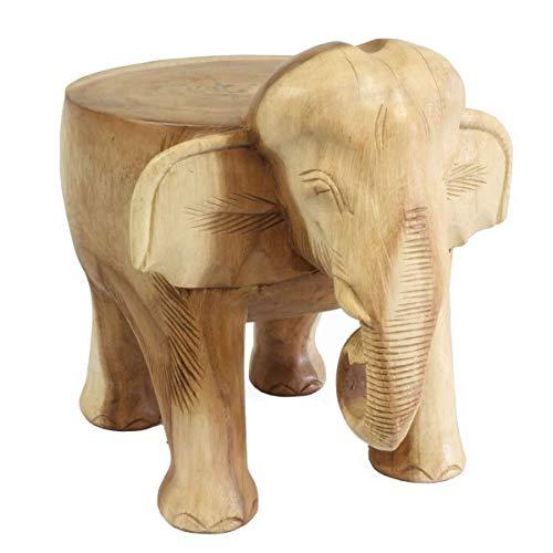 Oriental Galerie Hocker Rundhocker Holzhocker Elefanthocker Blumehocker Elefant ca. 25 cm hoch 21 x 22 cm Durchmesser Holz Limboholz Natur Klein