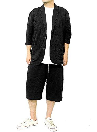 セットアップ メンズ 大きいサイズ テーラードジャケット 七分袖 ショートパンツ シアサッカー ストライプ ...