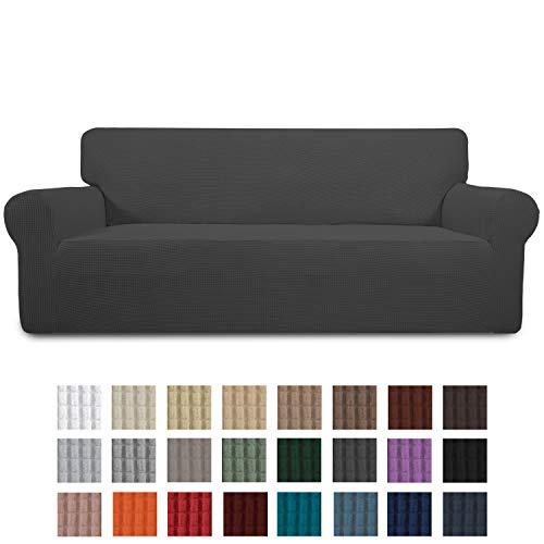 Greatime Stretch Sofabezug Sofaüberwurf Möbelschutz Sofaüberzug Couchbezug Couch Schild Sofahusse Weich mit Gummiband Schaumstreifen(Dunkelgrau,3-Sitzer)
