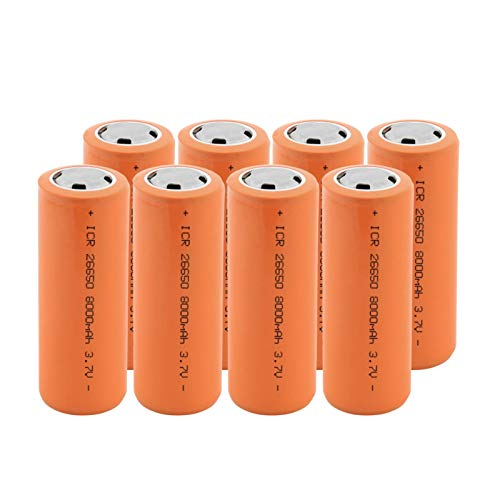 MGLQSB 26650 3.7v 8000mah Batería Recargable De Iones De Litio, BateríAs Seguras Litio De Uso Industrial Adecuado para Batería De Linterna 8PCS
