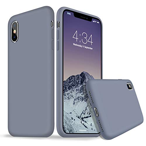 xperg iPhone X Case, iPhone X Silicone Case, Slim Liquid Silicone Gel Rubber Shockproof Case Soft Microfiber Cloth Lining Cushion Compatible with Apple iPhone X 5.8 inch (Lavender Gray)