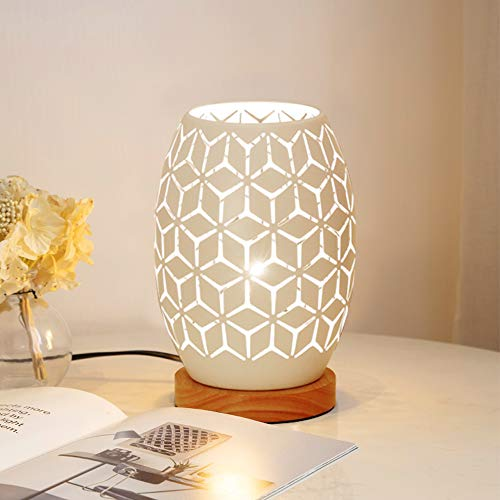 HHMTAKA Metal Lampshape Bedside Table Lamp Wooden Base Bedroom Lamp Decorative Bedside Lamp with Edison Bulb for Bedroom Home Weddings Parties Patio Indoor Outdoor (Geometrical Shape)