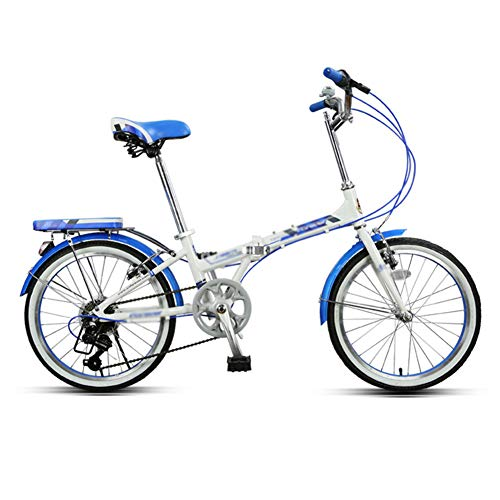 QETU Faltrad, Ultraleichtes Tragbares 7-Gang-Fahrrad Aus Aluminiumlegierung, 20-Zoll-Räder, Gepäckträger Hinten, Männliches Und Weibliches Erwachsenenfahrrad
