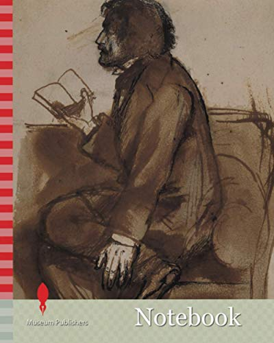 Notebook: Tennyson reading 'Maud', 1855 By Dante Gabriel Rossetti, Reading, Ink, PortraitPre-Raphaelite, Male, Literature, Poetry, Wash drawing, Full-length