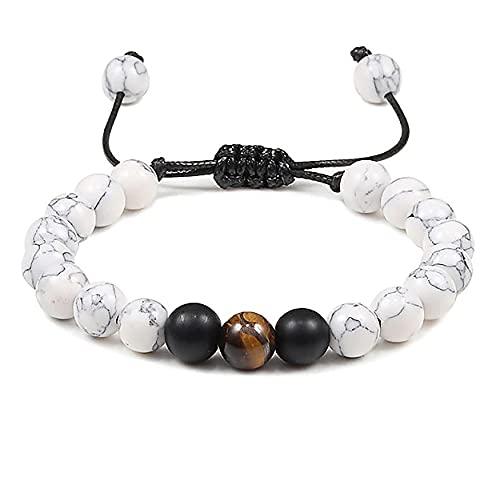 LEUCHTBOX Braccialetto portafortuna per yoga, Chakra, braccialetto dell'amicizia, unisex, pietre naturali, pietra curativa occhio di tigre e Nessun metallo, colore: bianco, cod. LB00619