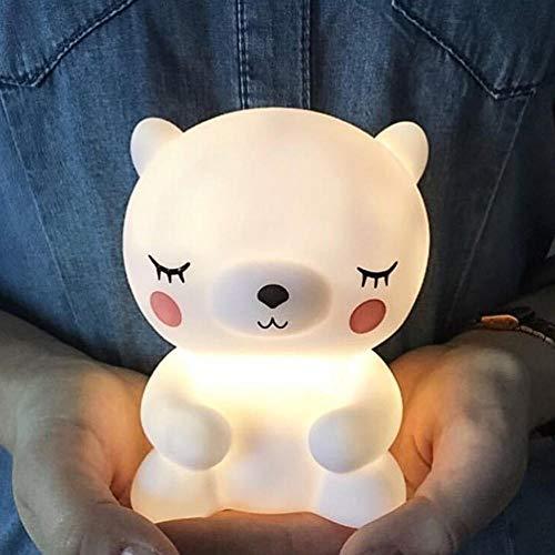fcndsfk Bear Led Night Light Lamp para Baby Kids Niños Animal Cartoon Mesita de Noche Dormitorio Sala de Estar Iluminación Decorativa-Negro