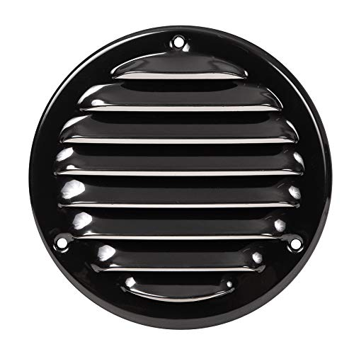 Vent Cover - Round Soffit Vent - Air Vent Louver - Grille Cover - Built-in Fly Screen Mesh - HVAC Ventilation (4'' Inch, Metal - Black)