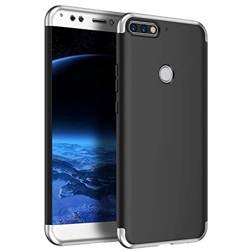 MoreChioce kompatibel mit Huawei Honor 7A Hülle,kompatibel mit Huawei Honor 7A Handyhülle,Premium Silber + Schwarz Matte Hybrid Stoßfest Kratzfeste Silikon Schutzhülle Rundumschutz Bumper