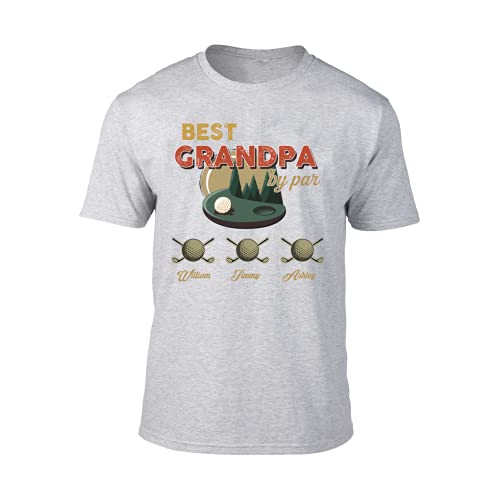 Personalized T Shirt-Best Grandpa by Bar Golf Father's Day Man and Kid Names Personalized Shirt Funny T-Shirt Cute Tee, Gift for Dad/Gift-237