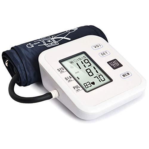 vowit Esfigmomanómetro de Brazo Totalmente automático, Instrumento de medición de presión Arterial a Domicilio, Pantalla Digital LCD 99 Grupos de Memoria para 2 Personas (Blanco),with Voice