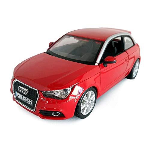 Bburago Audi A1: Modellauto im Maßstab 1:24, Türen und Motorhaube zum Öffnen, lenkbar, 19 cm, matt schwarz (18-22127)